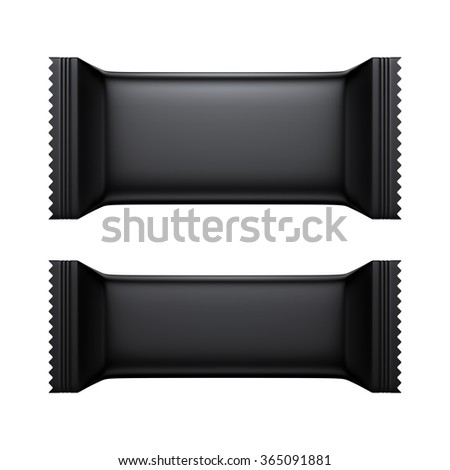 3D Blank Sweet Snack packing black color design for wrappers set of two, object isolated die cut - stock photo