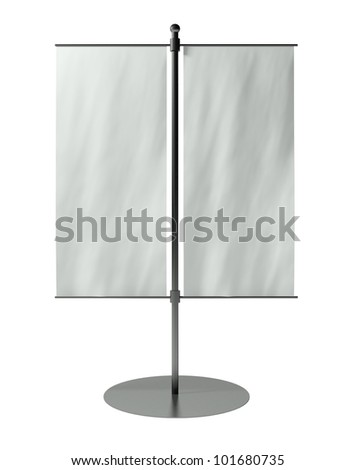 3d blank table flag, isolated on white - stock photo