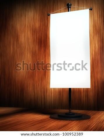 3d blank table flag on background of elegant wood - stock photo