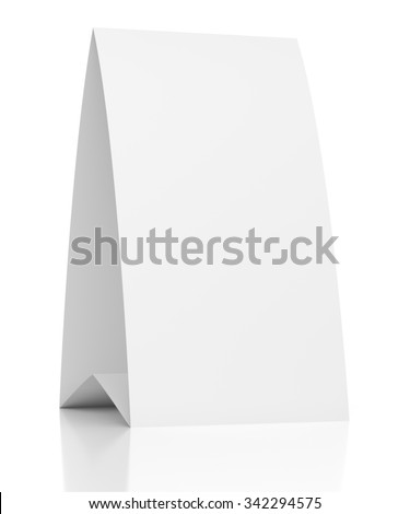 3d blank table paper card isolated on white background - stock photo