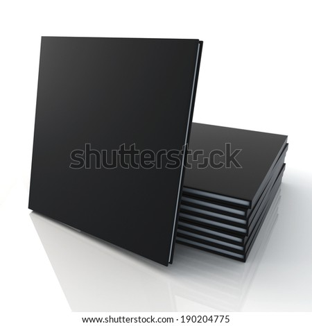 3D blank template black cover goods catalogs square type is in front of pile and reflection in isolated background with work paths, clipping paths included - stock photo