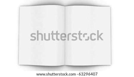 3d blank white magazine  isolated on white - stock photo