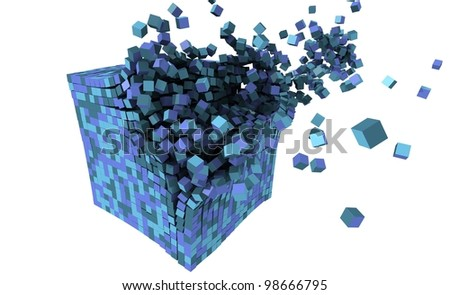 3d blocks explosion - stock photo