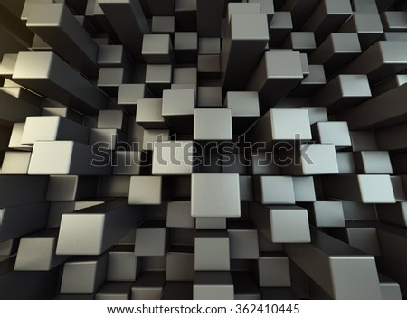 3D Blocks extruded with soft warm light background,abstract. - stock photo