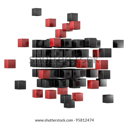 3d blocks red and black color. It is isolated on a white background - stock photo