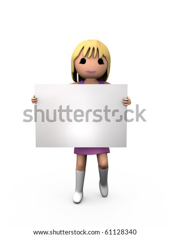 3D Blonde Woman Holding Blank Paper Shaded Copyspace - stock photo