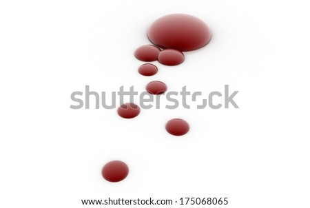 3D blood drops - stock photo