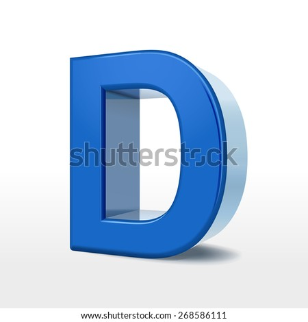 3d blue alphabet D isolated on white background