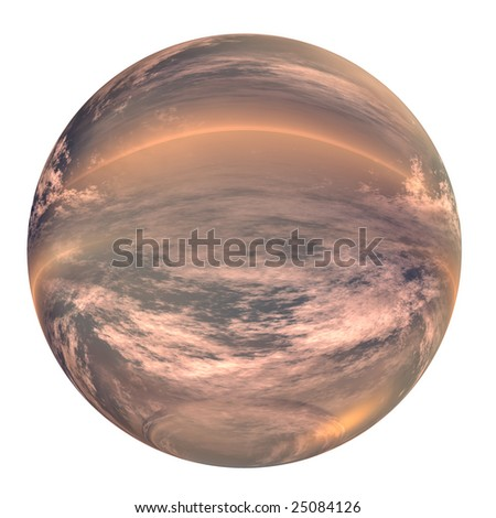 3d blue and orange glass sphere isolated on white background,ideal for 3D symbols, signs or web buttons. It is a sphere reflecting a blue sky with clouds