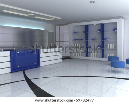 3d blue and white comercial interior - stock photo