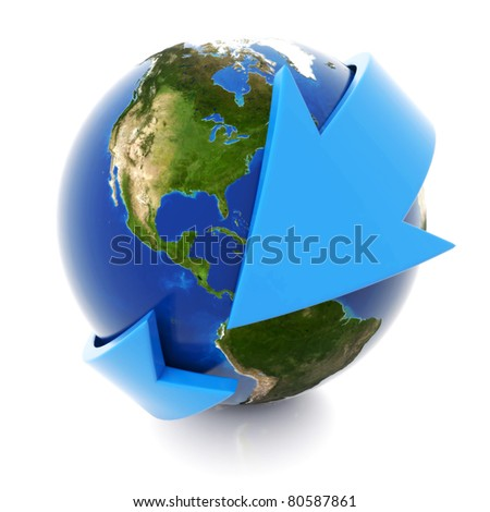 3d blue arrow around the world