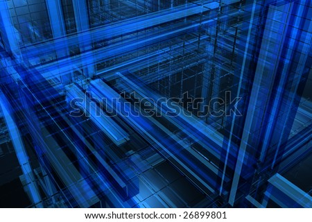 3D blue background - stock photo