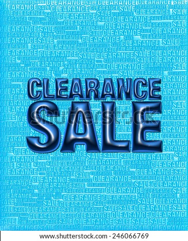 3D blue background of Clearance Sale with emboss dark blue text on background   - stock photo