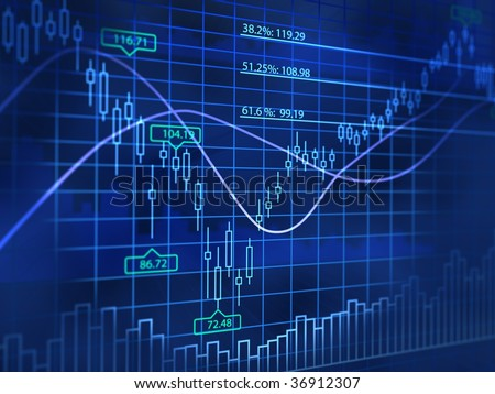 3D blue background with abstract stock diagrams - stock photo