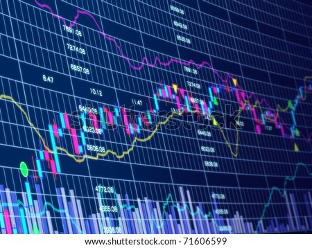 3d blue background with stock chart - stock photo