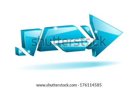 3D blue broken arrow pointer with reflection (raster version, available as vector too) - stock photo