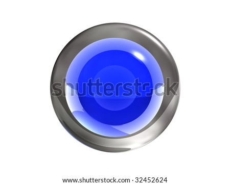 3d blue button. Transparent glass and metal