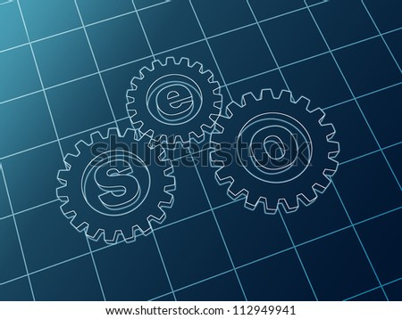 3d blue cam-gears with letters SEO - stock photo