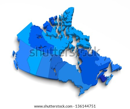 3d blue canada map on white with territory and regions isolated