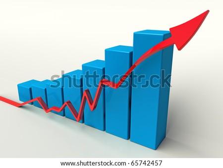3D Blue Chart graph going up - stock photo