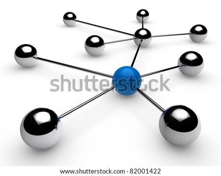 3d, blue, chrome, ball, network, communication, white - stock photo