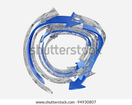 3D blue circular arrows - stock photo