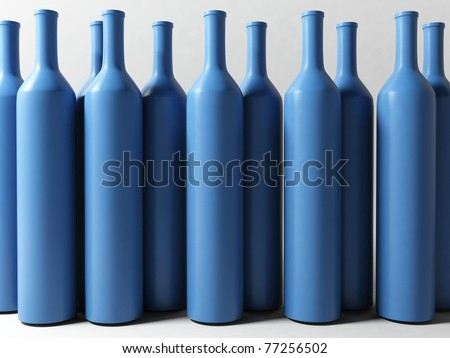 3d blue clay bottles - stock photo