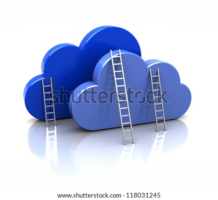 3d blue clouds isolated on white background - stock photo