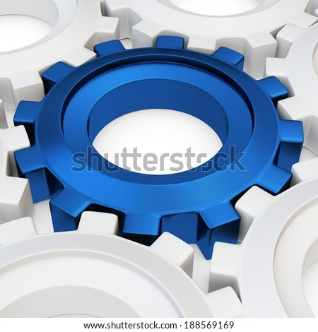 3d blue cog with white crowd on white background