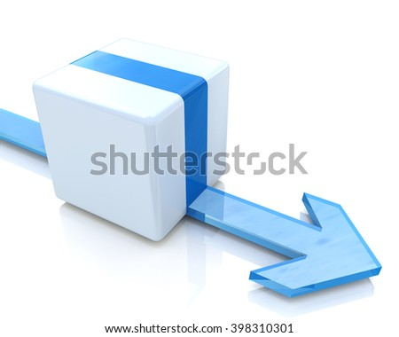 3D blue cube with an arrow pointing the direction. Concept illustration - 3D rendered illustration - stock photo