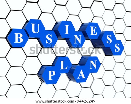 3d blue cubes hexahedrons in cellular structure with white letters - business plan, word, text - stock photo