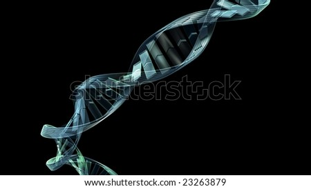 3d blue DNA spiral strand silhouetted on a black background - stock photo