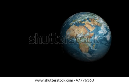 3d blue earth in space - stock photo