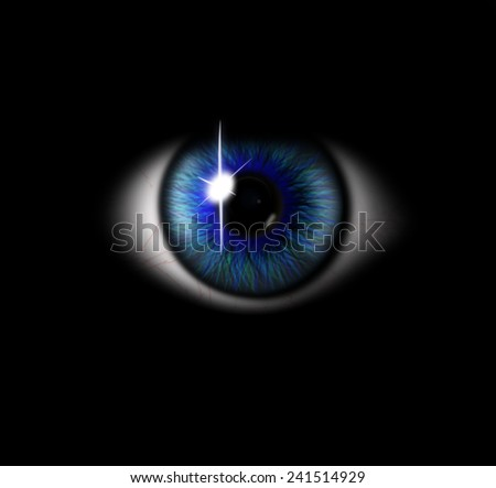 3d blue eye on black background. eyeball with pupil blue tint - stock photo