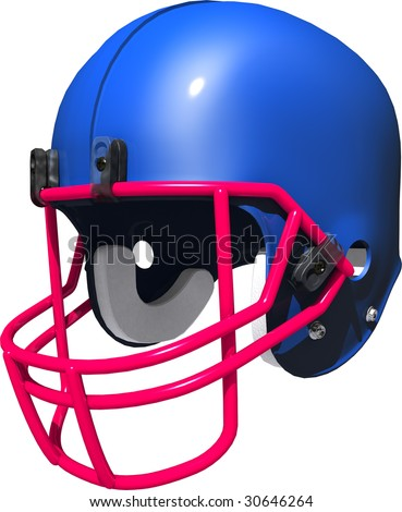 3d blue football helmet with red face guard