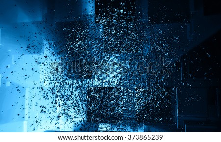 3D blue, futuristic background - stock photo