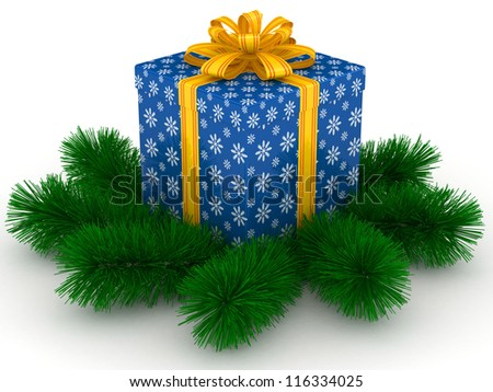 3D blue Gift christmas box with yellow bow and sprigs of christmas tree on the white - stock photo