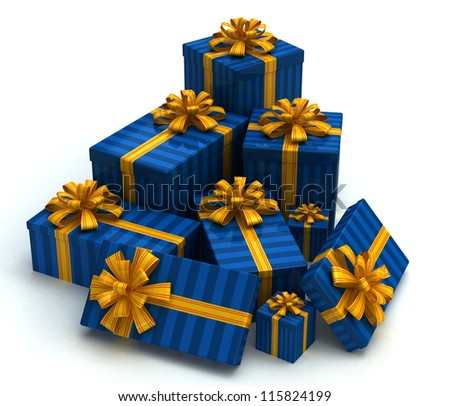 3D Blue Gift christmas boxes isolated on white - stock photo