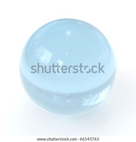 3d blue glass ball - stock photo