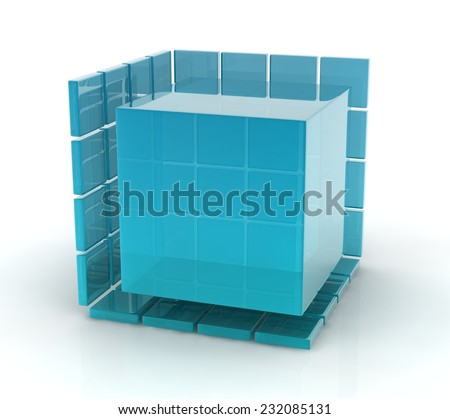 3d blue glass cubes on white background.
