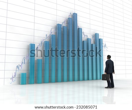 3d blue glass histogram and chart ,one business man on it. - stock photo