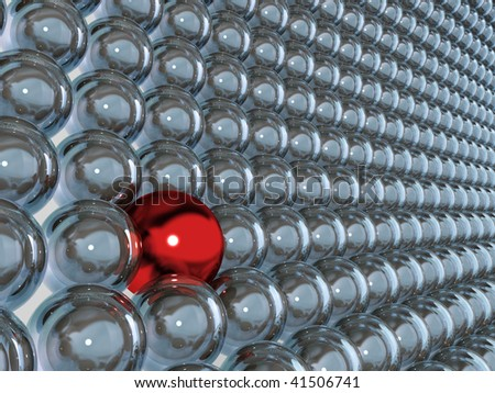 3d blue glass spheres and one contrast red sphere as individuality - stock photo