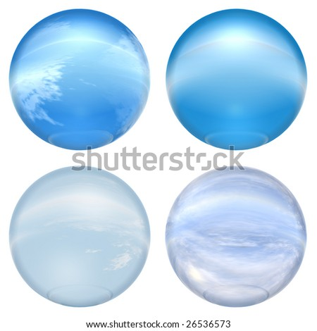 3d blue glass spheres collection isolated on white background,ideal for 3D symbols, signs or web buttons. It is a sphere reflecting a blue sky with clouds - stock photo