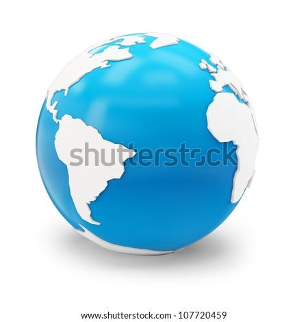 3d blue globe earth on white background - stock photo