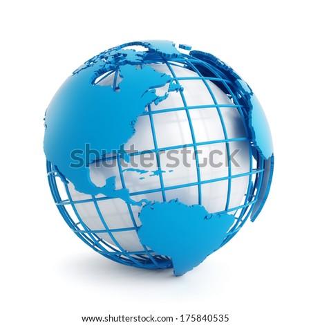 3d blue globe isolated on white background - stock photo