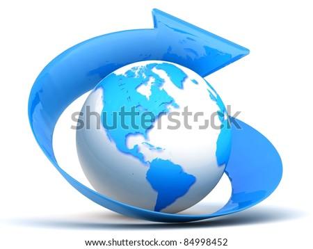 3d blue globe with arrow - stock photo