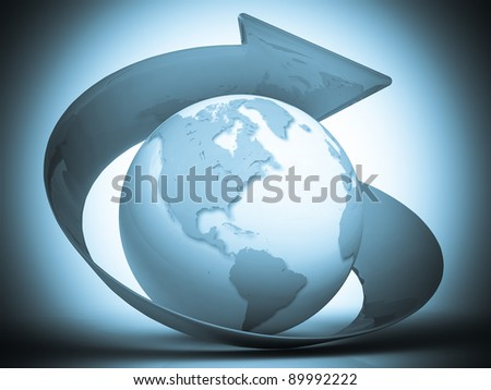 3d blue globe with arrow - stock photo