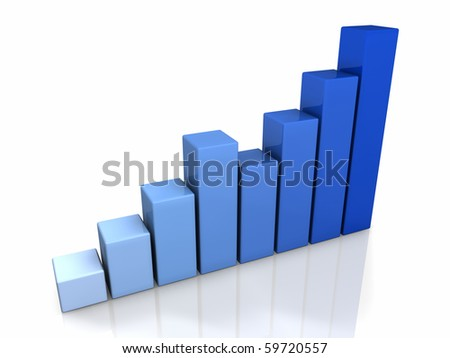 3D blue graph with a positive trend, isolated - stock photo