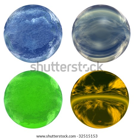 3d blue, green and yellow glass spheres collection or set isolated on white background,ideal for 3D symbols, signs or web buttons. It is a sphere reflecting a blue sky with clouds - stock photo