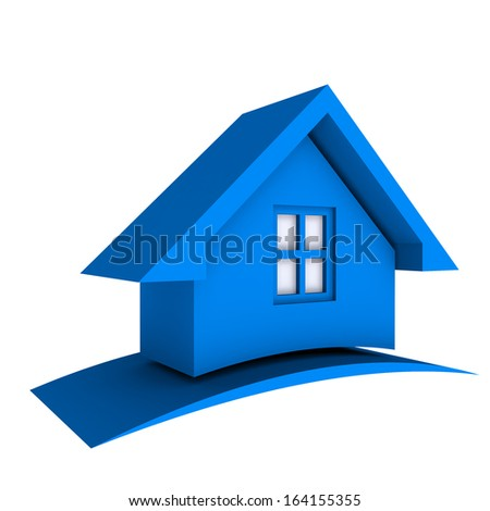 3D Blue House with window